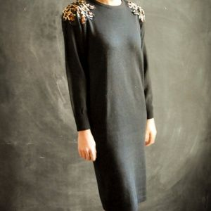 vintage 1980s black holiday sweaterdress